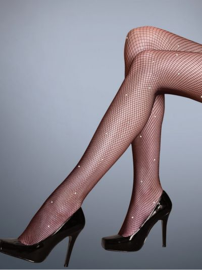 Silky Scarlet Diamante Fishnet Tights