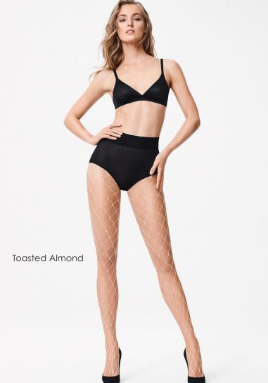 Wide fishnet almond coloured wolford pantyhose