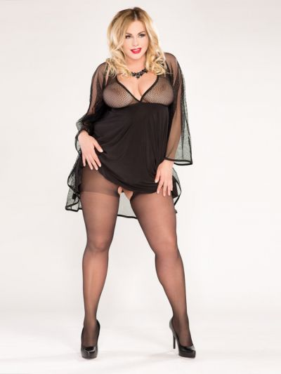 Black sheet plus size crotchless tights