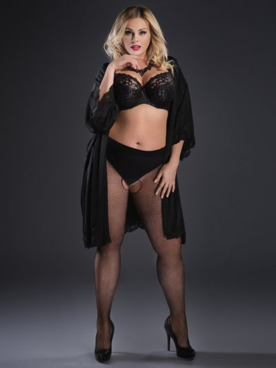 Plus size black fishnet crotchless tights