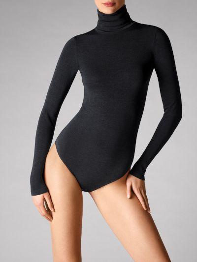 Wolford hosiery black high neck, long sleeved bodysuit