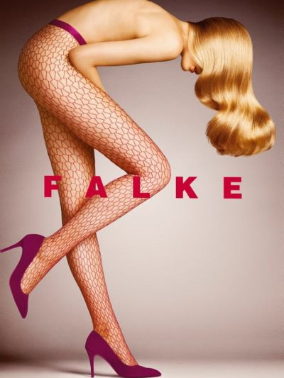 Falke Burgundy Diamond Net Tight