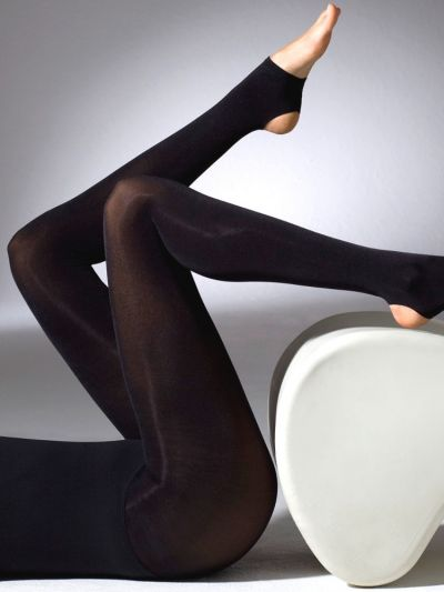 Gipsy 90 Den Satin Stirrup Black Toeless Tights