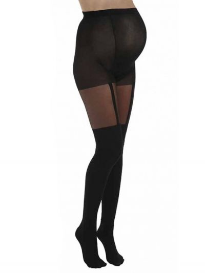 Pamela Mann Maternity Plain Stripe Suspender Tights