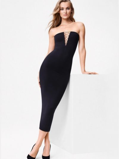 Wolford hosiery black sleek tie up the front long dress