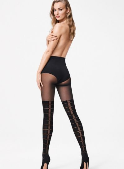 Striped design, lace up the back over the knee wolford tights rear view