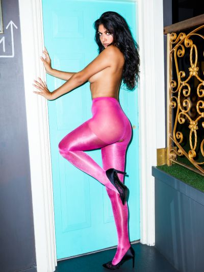 Pink fashion metallic shiny crotchless tights