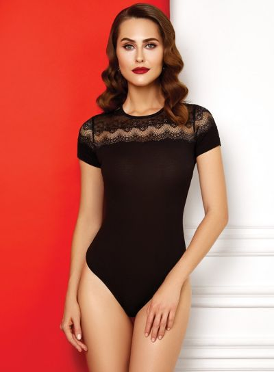Anabel-Arto-Zig-Zag-Lace-Short-Sleeve-Body-Black