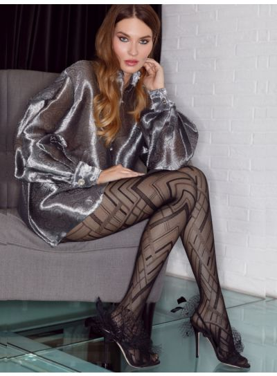 Pierre Mantoux Bianca Patterned Tights