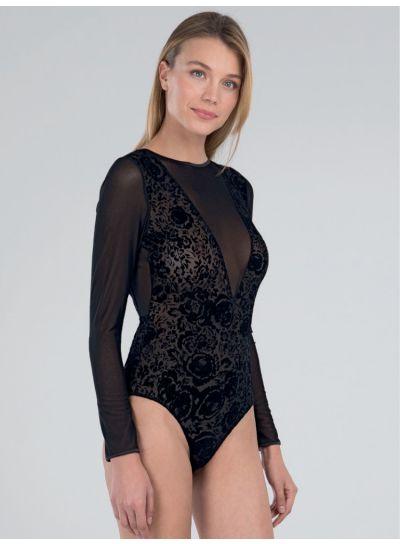 Blackspade Backless Flock Sheer Bodysuit