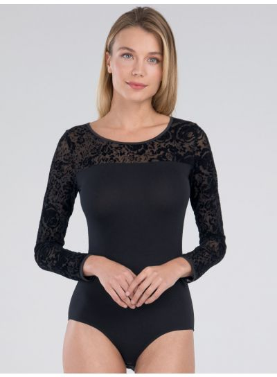 Blackspade Lace Long  Sleeve Bodysuit