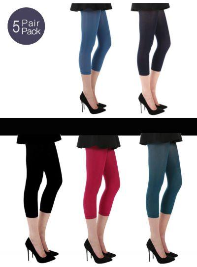Pamela Mann Capri Footless Tights 5 Pair Pack