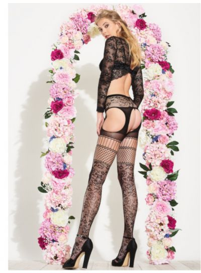 Trasparenze Carnation Strip Panty Suspender Tights