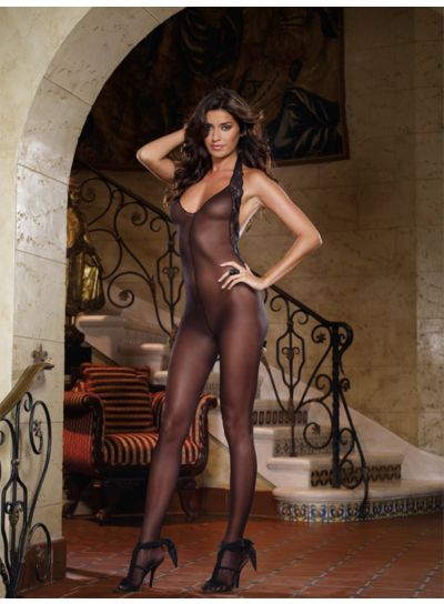 Dreamgirl-Sheer-Halter-Neck-Bodystocking-With-Lace-Edging-Front