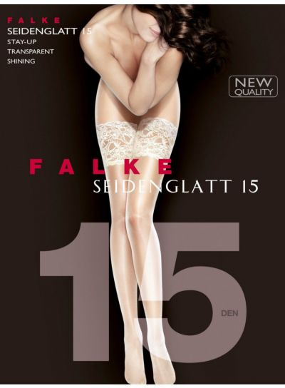 Falke NEW Seidenglatt 15 Deep Lace Top Hold Ups Pack Image