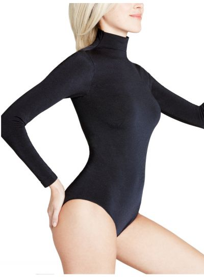 Falke Shining Rich Cotton Long Sleeved Black Bodysuit