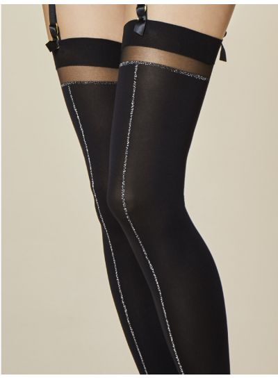 Fiore-Together-Front-Seam-Stockings-Black