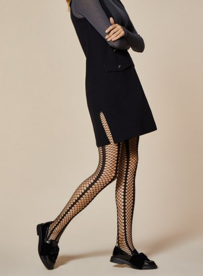 Fiore Lady Rock Stripped Fishnet Tights