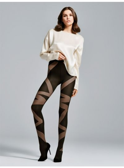 Patterned Tights from Fiore with Bondage Ribbon Wrap design