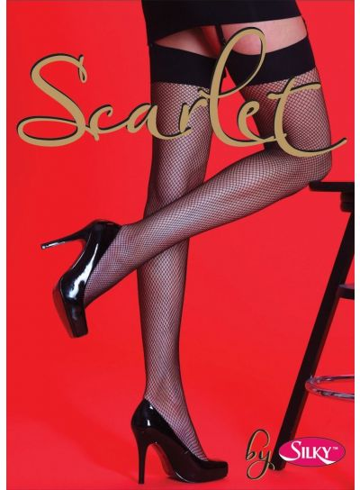Scarlet Plain Top Fishnet Stockings