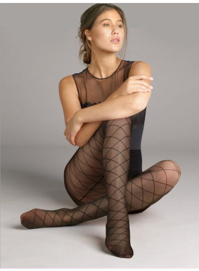 Jonathan Aston Backseam Diamond Patterned Tights
