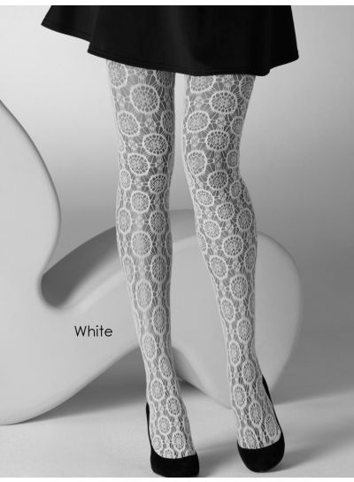 Gipsy Circle Floral Mustard Fishnet Tights