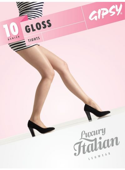 Gipsy Luxury Shiny Tights, Sheer 10 Denier Gloss Pantyhose