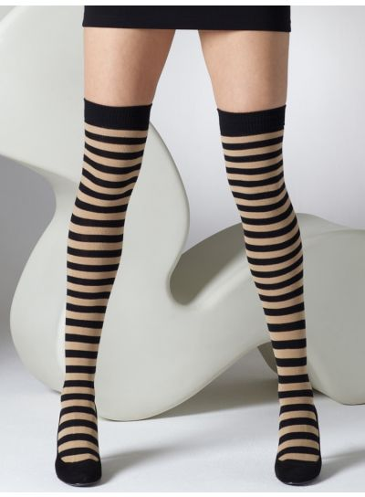 Gipsy-Striped-Over-The-Knee-Socks-Black Caramel