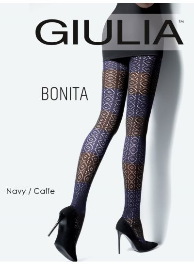 Giulia Bonita Patterned Cotton Tights Model 2 - Hosiery Outlet