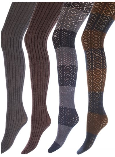 Giulia Cotton Patterned Tights 4 Pair Bundle