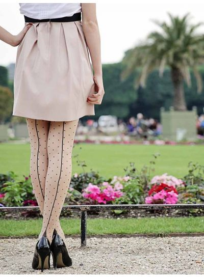 Pamela Mann Jive Seamed Dotty Tights in XL too!