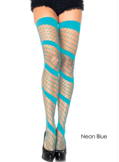 Leg Avenue Swirl Diamond Net Thigh Highs Blue