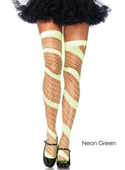 Leg Avenue Swirl Diamond Net Thigh Highs Green
