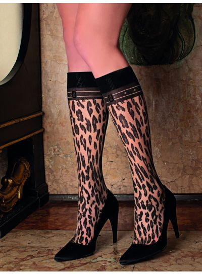 Trasparenze Malvasia Leopard Print Knee High Socks