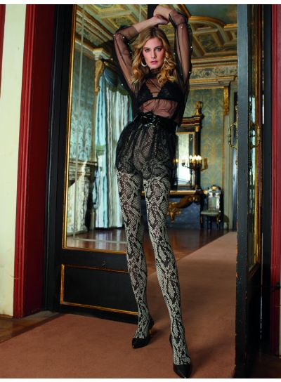 Trasparezne Marsala Python Snake Print Patterned Tights