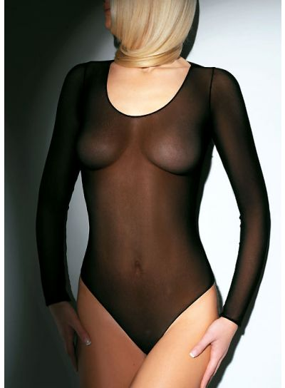 Pierre Mantoux Sheer Scoop Neck Bodysuit