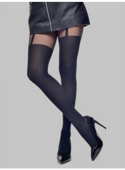 Pamela Mann Plain Stripe Suspender Tights - Available in Medium,  XL & XXL