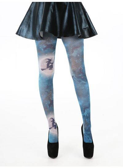 Pamela Mann Witches on Broomstick Printed Tights Up to XXL