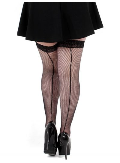Pamela Mann Plus Size Fishnet Seamed Lace Top Hold Ups