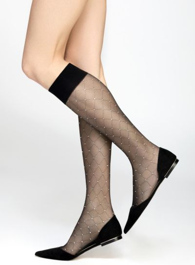 Pierre Mantoux Pois Lurex Knee Highs