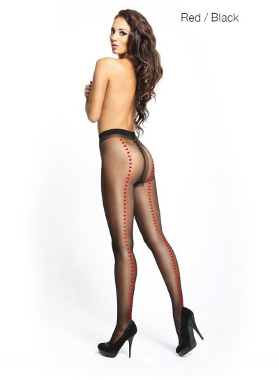 seamed white crotchless pantyhose with heart pattern from miss o