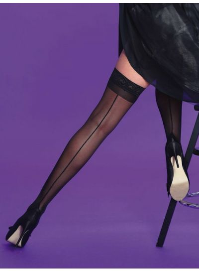 Scarlet Seamer Lace Top Hold Ups