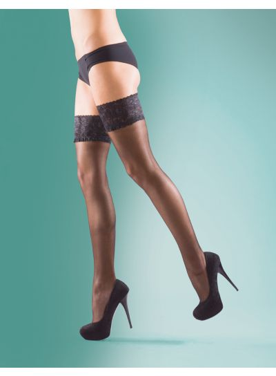 Silky Super Shine Lace Top Sheer Hold Ups