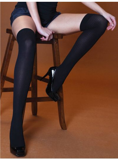 Silky Scarlet Ribbed Opaque Over the Knee Socks