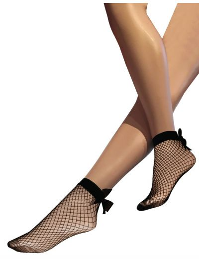 Silky-Fishnet-Bow-Ankle-Highs