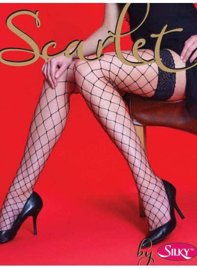 Silky Scarlet Whale Net Lace Top Hold Ups