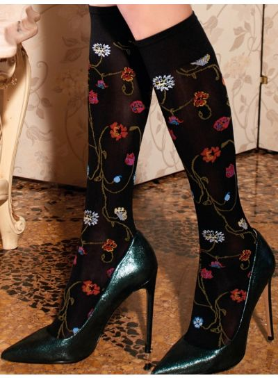 Trasparenze Platino Floral Patterned Knee Highs