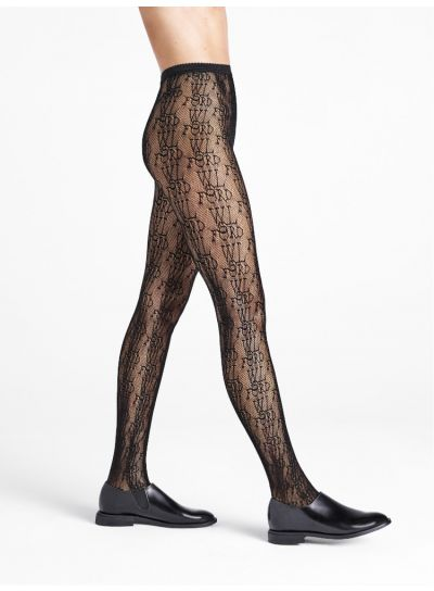 Wolford Logo Fishnet Tights