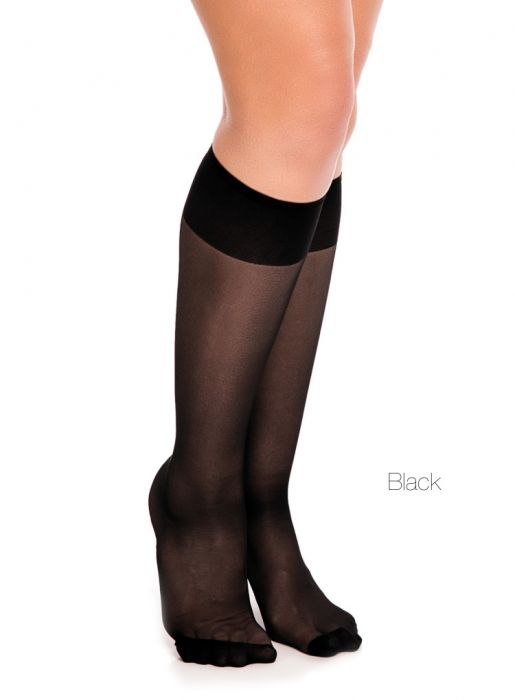 42510769ea6 Glamory Fit 20 Extra Wide Black Knee Highs