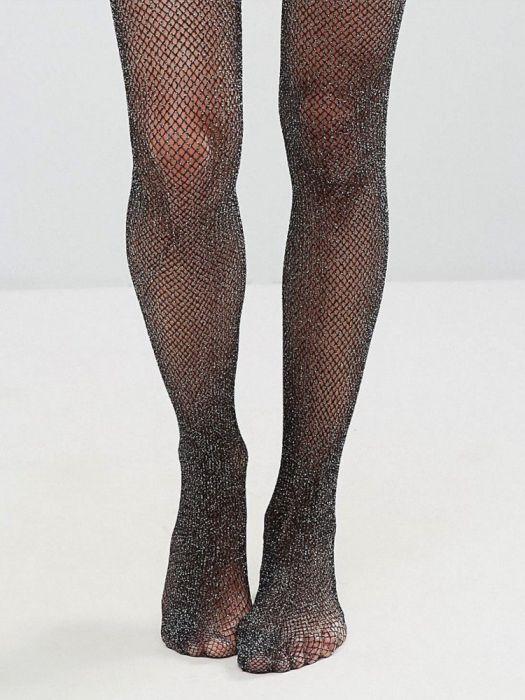 Stockings Fishnet with  Plain Top Stockings for Suspenders Fishnet  Black